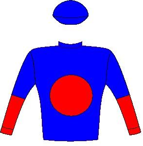 FRENCH NAVY - Horse - South Africa - Royal blue, red spot, halved sleeves, royal blue cap - Jockey Silks