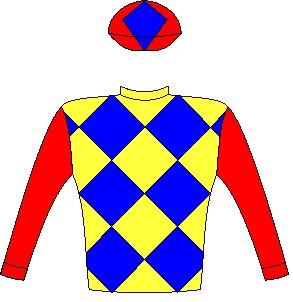 Jockey silks/colours of Chrigor Stud: Yellow and royal blue checked diamonds, red sleeves and cap, royal blue diamond