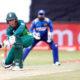 Dwaine Pretorius of South Africa sweeps against Sri Lanka