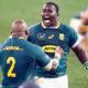 Trevor Nyakane and Bongi Mbonambi of the Springboks